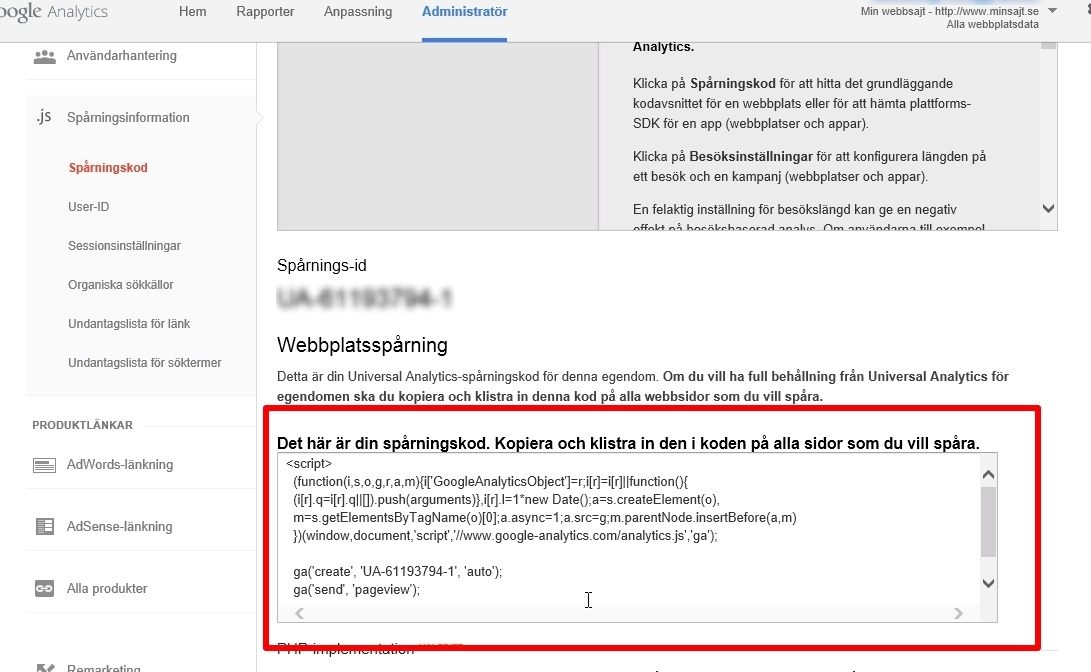 Google Analytics steg 3